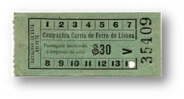Companhia Carris De Ferro De Lisboa - $30 - Tramway Ticket - Serie V - Portugal - Tranvías