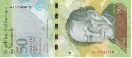 BILLETE DE VENEZUELA DE 50 BOLIVARES DEL 23 DE JUNIO 2015 (BANKNOTE) OSO FRONTINO (BEAR) - Venezuela