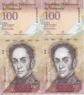 PAREJA CORRELATIVA DE VENEZUELA DE 100 BOLIVARES 29 DE OCTUBRE DEL 2013 SIN CIRCULAR-UNCIRCULATED  (BANK NOTE) PAJARO - Venezuela