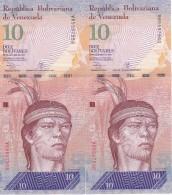 PAREJA CORRELATIVA DE VENEZUELA DE 10 BOLIVARES 29 DE 0CTUBRE DEL 2013 SIN CIRCULAR-UNCIRCULATED  (BANK NOTE) AGUILA - Venezuela