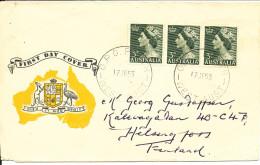 Australia FDC 17-6-1953 Queen Elizabeth II 3d Green In A Strip Of 3 Sent To Finland - FDC