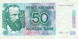 BILLETE DE NORUEGA DE 50 KRONER DEL AÑO 1985  (BANKNOTE) - Noruega