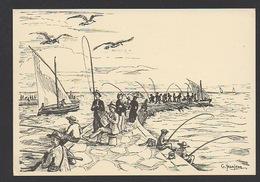 DF / 34  HERAULT / PALAVAS LES FLOTS / DESSIN DE G. JEANJEAN : LES PÊCHEURS À LA LIGNE SUR LA JETÉE - RIVE DROITE - Palavas Les Flots