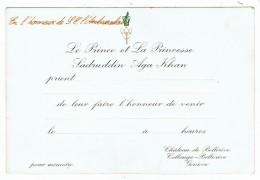 Invitation à Genève   Prince Et Princesse  Aga Khan  Pour Un Ambassadeur   15.5 Cm X 10.5 Cm - Personnages Historiques