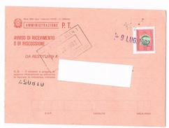 1536- Italia Recapito Autorizzato £. 300 Su Mod. 23-1 Avviso Di Ricevimento Amm. P.T. - 6. 1946-.. Repubblica
