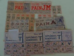 Mairie De Vincennes Lot De Tickets De Rationnement Et Supplements Alimentaires 1948 - Dokumente