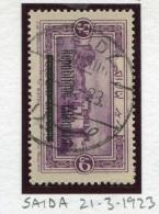 E11 Lebanon Rare Postmark: 1928 SAIDA Type GLC Rarity 4 On Republique Libanaise 5p Saida Stamp, Complete - Lebanon