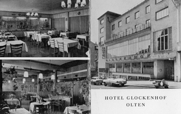 SVIZZERA-OLTEN-HOTEL GLOCKENHOF-CARTONCINO PUBBLICITARIO-ANNI 50-VESPA-AUTO D'EPOCA - Hotelaufkleber