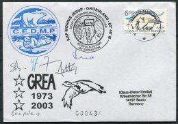 2003 Greenland Danmarkshavn Ecopolaris C.E.D.M.P. Polar Bear, Walrus GREA  Arctic Expedition Signed Cover - Greenland