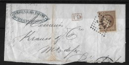 FRANCE - SUISSE/Rorschach → Lettre PD Avec1867 N°30 OBL. (NAPOLÉON III LAURÉ. SECOND EMPIRE. 30C Brun - 1863-1870 Napoléon III Lauré