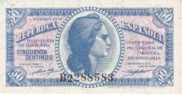 BILLETE DE ESPAÑA DE LA REPUBLICA ESPAÑOLA DE 50 CTS DEL AÑO 1937 SERIE  B SIN CIRCULAR-UNCIRCULATED - [ 3] 1936-1975 : Régimen De Franco