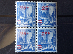 Tunisie / France / 1939 / YT N° 205 / 181A ( A Variété Sans Le Point Après Le C ). MNH N° 4 Bloc De 4 - Tunisie (1888-1955)