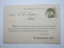 1873 , MELSUNGEN , Glasklarer Stempel Auf Vertreterkarte , Faltspuren - Deutschland