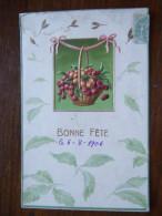 PETIT PANIER DE CERISES / JOLIE CARTE FANTAISIE GAUFREE / 1906 - Botanik