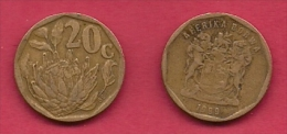 SOUTH AFRICA, 1999, 3 Off Nicely Used Coins 20 Cent C2095 - Zuid-Afrika