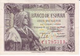 BILLETE DE ESPAÑA DE 1 PTA DEL 15/06/1945 ISABEL LA CATÓLICA SERIE C CALIDAD EBC+ (XF) (BANK NOTE) - [ 3] 1936-1975 : Régence De Franco