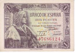 BILLETE DE 1 PTA DEL 15/06/1945 ISABEL LA CATÓLICA SERIE J SIN CIRCULAR-UNCIRCULATED (BANK NOTE) - [ 3] 1936-1975 : Régence De Franco