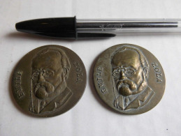 Lot Médailles 2 X CDB Émile Zola 2 X 24,5 Grammes 4 Cm. - France