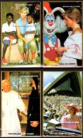 Papst/Diana 1997 Niger Bl.A,B,E,F 111 ** 32€ Porträt-Foto Lady Di Hb Blocs M/s Flower Princess Of Wales Sheets Bf Africa - Popes