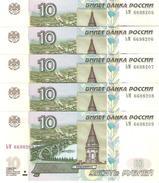 Russia - Pick 268c - 10 Rubles 1997-2004 - Unc - Lot X 5 Pcs Consecutive - Russia