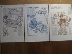 Superbe Calendrier 1904 En 3 Parties AUTOMOBILE PIPE (BRUXELLES) Illustration De GEORGES GAUDY - Voitures