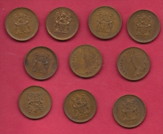 RHODESIA, 1970, 10 Off, Nicely Used Coins 1 Cents KM1, C2730 - Rhodesia