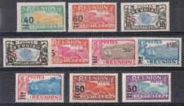 REU 21 - REUNION Lot De 10 Val. Surchargés Neufs* - Réunion (1852-1975)