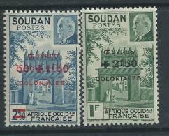 Soudan  N° 133 / 34 X Porte De Djenné Et Mal Pétain Les 2 Valeurs Surchargées Trace De Charnière Sinon TB