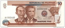 PHILIPPINES 10 PESOS 1998 P-187c UNC WMK: MABINI & BONIFACIO [PH1041c] - Philippinen