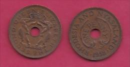 RHODESIA-NYASSALAND, 1958,  1 Penny VF, KM2,  C2868 - Colonies