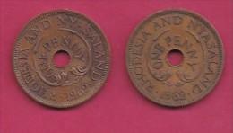 RHODESIA-NYASSALAND, 1962,  1 Penny VF, KM2,  C2870 - Colonies