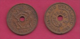 RHODESIA-NYASSALAND, 1963,  1 Penny VF, KM2,  C2871 - Colonies