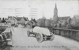 CARTE POSTALE ORIGINALE ANCIENNE AQUA PHOTO : CIRCUIT DE LA SARTHE VOITURES A LA SORTIE SAINT MARS LA BRIERE SARTHE (72) - Le Mans