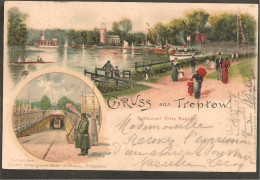Berlin. Gruss Aus Treptow. Litho 1903. RESTAURANT FRITZ REGELIN. BRIEFMARKE 2 PF GERMANIA Ef ! - Treptow