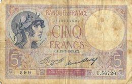Violet - Billet De 5F Cinq Francs - CX. 13-7-1933, Alphabet U.56726 - 1871-1952 Anciens Francs Circulés Au XXème