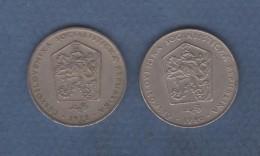 LOT DE 2 PIECES DE MONNAIES DIVERSES DE TCHECOSLOVAQUIE - DE 1972 A 1990 - Tchécoslovaquie