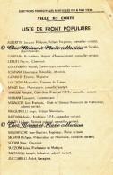 CORTE 1955 - LISTE DE FRONT POPULAIRE - ELECTIONS MUNICIPALES PARTIELLES - HAUTE CORSE - AFFICHETTE 21 X 13.5 CM - Affiches