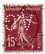 France N°189 I - 15c Semeuse Perforé A. G - (AG) Perfin - France