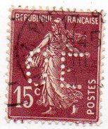 France N°189 I - 15c Semeuse Perforé C E - (CE) Perfin - France