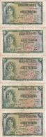 LOTE DE 5 BILLETES DE 5 PTAS DEL AÑO 1935 TODAS SERIES DISTINTAS (SS-A-B-C-D) (BANKNOTE) - [ 2] 1931-1936 : Republic