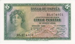 BILLETE DE ESPAÑA DE 5 PTAS DEL AÑO 1935 SERIE B (BANKNOTE) SIN CIRCULAR-UNCIRCULATED - [ 2] 1931-1936 : Republic