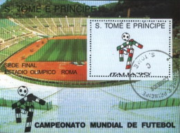 Sao Tome E Principe 1990 World Cup Football Soccer Championship Italy Used Cancelled Block M/S (U-23)