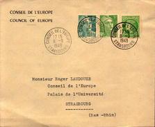 Enveloppe Conseil De L Europe Strasbourg, Tampon De 1949,  Palais De L Universite. - Marcofilie (Brieven)