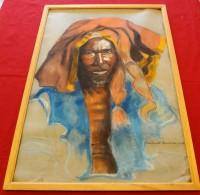 Portrait D´Homme Africain, Yaoundé (Cameroun) - 1935 - Signé Samantha G???? - Pastelli