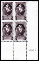 FRANCE - YT N° 465 Bloc De 4 Coin Daté - Neuf ** - MNH - Cote: 9,50 € - 1940-1949