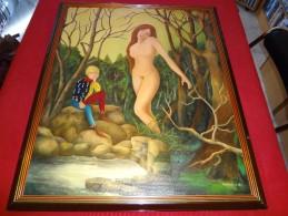 Tableau - Signé Guyard - Femme Nue Avec Son Page (serviteur) - Acryliques