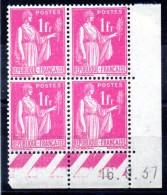 FRANCE - YT N° 369 Bloc De 4 Coin Daté - Neuf ** - MNH - Cote: 42,00 € - 1930-1939