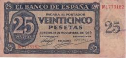 BILLETE DE BURGOS DE 25 PTAS DEL 21/11/1936 SERIE N  CALIDAD  BC (BANKNOTE) - 25 Pesetas
