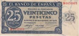 BILLETE DE ESPAÑA DE 25 PTAS DEL 21/11/1936 SERIE R CALIDAD  EBC (XF) (BANKNOTE) - [ 3] 1936-1975 : Regency Of Franco
