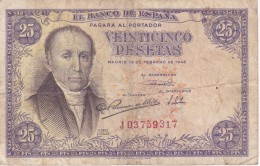 BILLETE DE ESPAÑA DE 25 PTAS DEL 19/02/1946 SERIE J  CALIDAD RC (BANKNOTE) - [ 3] 1936-1975 : Regime Di Franco